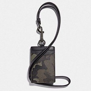 Coach ID Holder Lanyard Camo Longer Card Case NWT